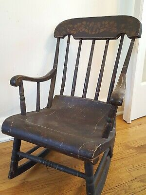 Antique Stenciled Painted Oak Wood Child's Rocker Rocking Chair