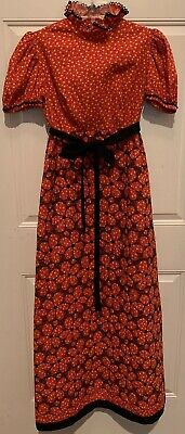 Vintage 1960s MAXI DRESS Quilted Skirt Hostess Lounge Dressing Gown Boho XS