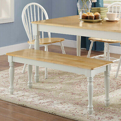 Kitchen Table Bench Breakfast Nook Long Seat Rustic Dining White Farmhouse Chair