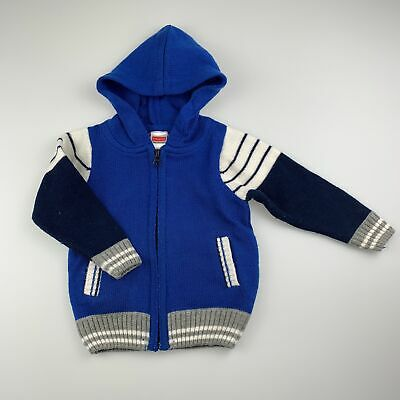 Boys size 1, Babyhug, knitted zip-up hooded sweater, GUC