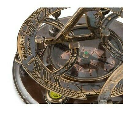 Antique Sundial and Compass- Brass, pocket sized, store bought condition