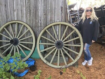 Pair Of The Best Wagon Carriage Wooden Wheels Farm Maine Amish Antique Old