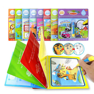 Kids Magic Water Drawing Book Pen Coloring Numbers Letters Animals Painting Toy