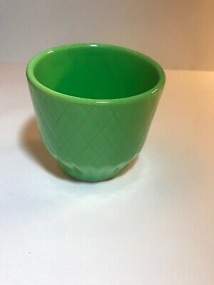 SHAWNEE FLOWER POT 4 INCHES Planter Glossy Green  Quilt Glazed Pottery Vintage
