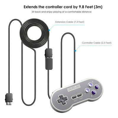 2x 3M Extension Cable Cord for Nintendo SNES & NES Mini Classic Controller Tools