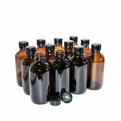 12 PACK Amber Glass Bottles Amber Boston Round 8 oz with Black Poly Cone Cap NEW