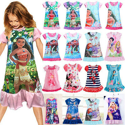 Girls Kids Princess Ruffles Cartoon Dress Nightdress Pajama Nightwear Sleepwear