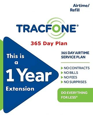 TracFone 1 Year Service Extension Refill Adds 365 Days No Smartphone No BYOP