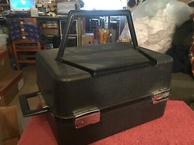 Delilah Luggage Co. Vintage Hard Plastic Wig Box with Wig 100% Human Hair etc.