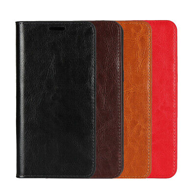 Genuine Real Cow Leather Flip Card Wallet Case Cover For Huawei P / Mate series