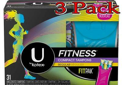U By Kotex Fitness Tampones,Regular,6boxes de 31ct,Paquete 3 036000464900S4194