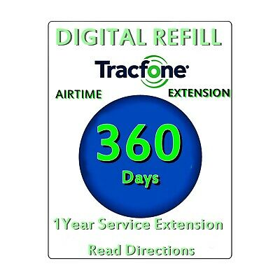 Tracfone Smartphone Refill Card 360 Days 1 year Service Extension Supports ALL