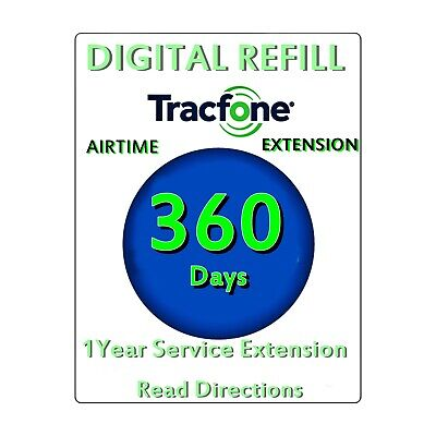 TRACFONE ANDROID REFILL 1 year 365 Days + 1500 minutes +