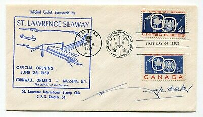 Canada / USA 1959 Seaway FDC - SIGNED BY JOHN DIEFENBAKER - Cdn Prime Minister