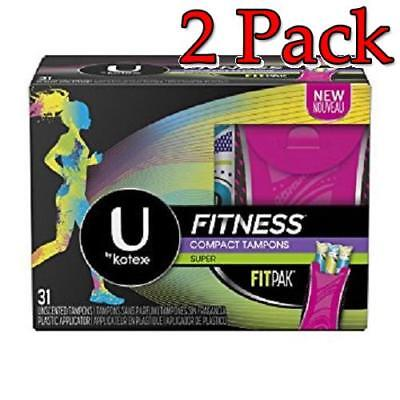 U By Kotex Fitness Tampones, Super, 5boxes de 31ct, Paquete 2 036000464900S3495