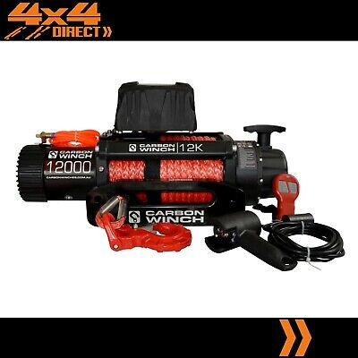 Carbon 12K 12000Lb Electric Winch With Synthetic Rope Limited Lifetime Warranty