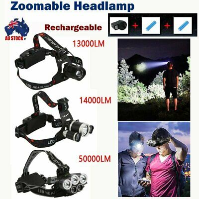 13000-50000LM LED Headlamp Rechargeable Headlight  T6 Head Torch Light Hike