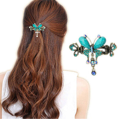 Girls Crystal Turquoise Butterfly Flower Hairpins Vintage Hairs Barrettes Clips