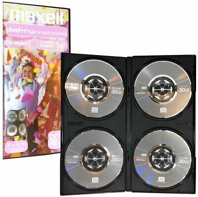 4 Pack Maxell DVD+RW single side 30 Mins 1.4GB 8cm discs camcorder video camera
