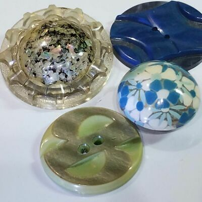 Collectible Vintage Plastic & Celluloid Buttons ~Carved Wafer Bubble-Top Flower!