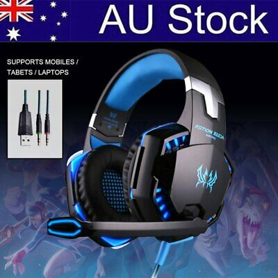 EACH Gaming Headset LED Headband Luminous Headphones + Microphone Mic AU