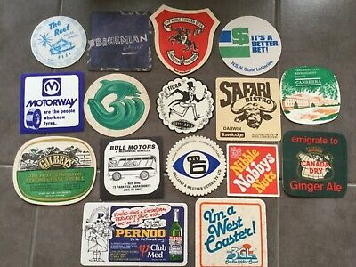 Bar Coasters x 16, Various, Vintage Double Sided Mancave Drink Mats
