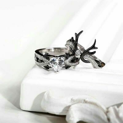 925 Silver Cubic Zirconia Black Two-color Couple Ring Glamour Jewelry Size 6-10