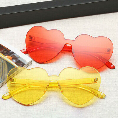 Fashion Girl Heart-shaped Rimless Candy Color Sunglasses Anti-UV  Glasses Women