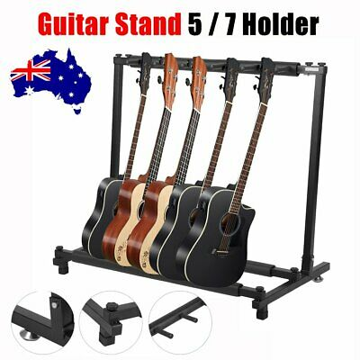 5 / 7 Guitars Rack Holder Stand Multiple Folding Acoustic Bass Display Storage H