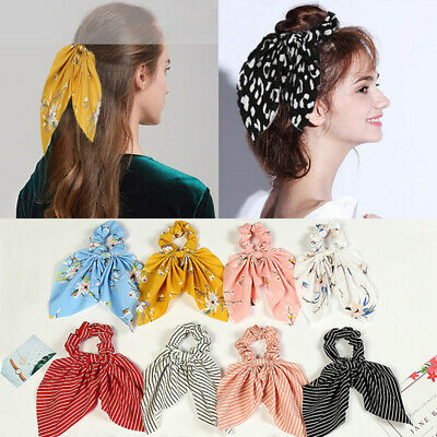 Elastic Boho Print Ponytail Scarf Bow Hair Rope Tie Scrunchies Ribbon Hair Bands