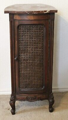 Antique French Louis XV Oak Carved Marble Top Rattan Door Night Stand End Table