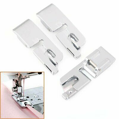 3Pcs Silver Hard Rolled Hem Foot For Brother Janome Singer Bernet Sewing Machine