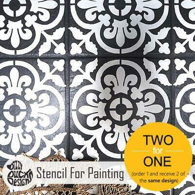 VALENCIA Mediterranean Tile - Furniture Wall Floor Stencil for Painting