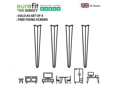 4 x Black Hairpin Table Legs -  WIDE RANGE OF SIZES + FREE SCREWS