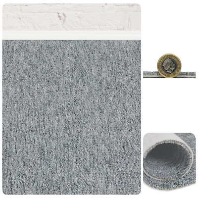 CHEAP HEAVY DUTY Light Grey Berber Loop Pile 4m Wide Carpet Remnant/Roll End