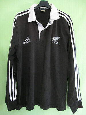 Maillot rugby Adidas All Blacks New Zealand Vintage Noir ancien Coton - L