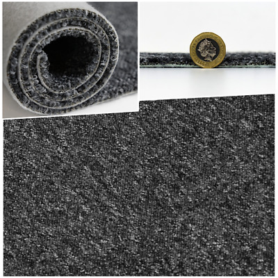 CHEAP HEAVY DUTY Black Grey Berber Loop Pile 4m Wide Carpet Remnant/Roll End