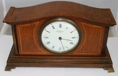 Antique English Edwardian Inlaid Mantel Clock Manual Wind Circa 1930 Clock Parts