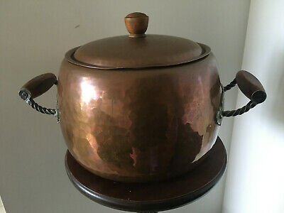 Vintage Stockli Netstal Hammered Copper Pot With Twin Wooden Handles Swedish Mad