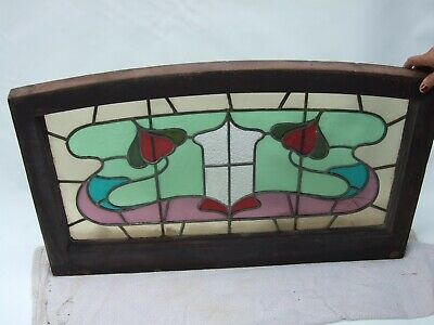 ANTIQUE ART NOUVEAU  ORIGINAL CEDAR  STAINED LEADLIGHT COLOURFUL WINDOW  C1890's
