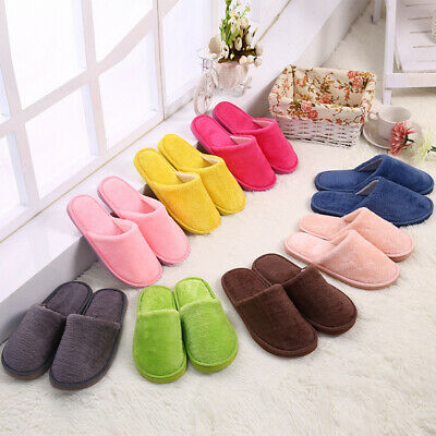 New Women Men Cotton Plush Slippers Flat Shoes Home Indoor Soft Warm Casual