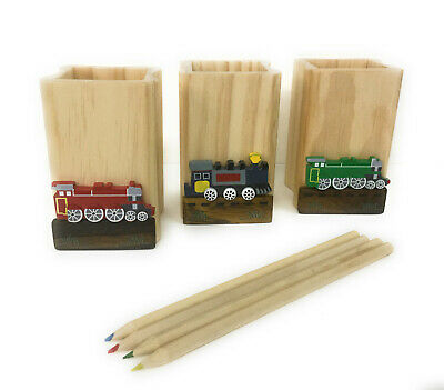 Personalised Wooden Train Pencil Holder -  Birthday Children Back To School Gift