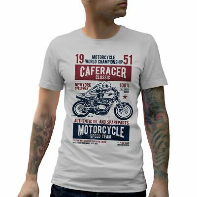 A629W Mens Crew Neck T-Shirt Caferacer Motorcycles Classic Race Speed Born To Ra