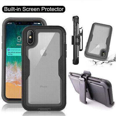 For iPhone 8 7 6 Plus XR XS MAX 360 Hard Shockproof Holster Belt Clip Case Cover