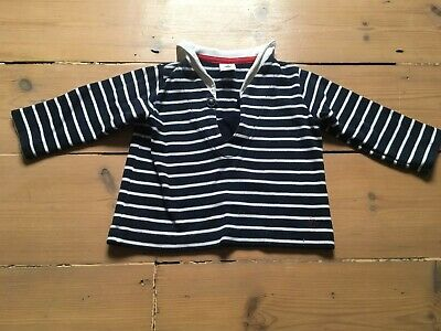 PETIT BATEAU Sailor Top Navy Blue Striped 12 months