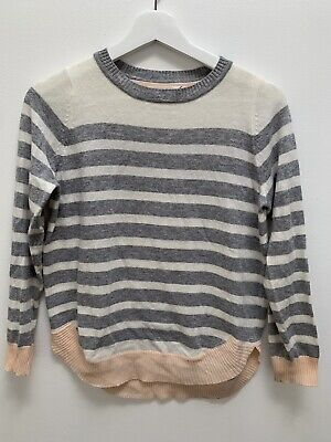 COTTON ON FREE (TEEN) girls grey and white stripe jumper, size 12
