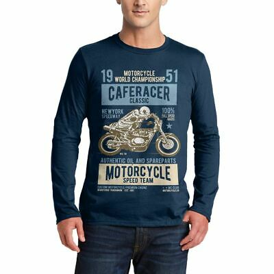 A629N Mens LS T-Shirt Caferacer Motorcycles Classic Race Speed Born To Race Cust