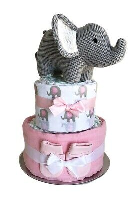 Baby Girl Knitted Elephant Nappy Cake 2 Tier – Pink, Baby Shower, Maternity Gift