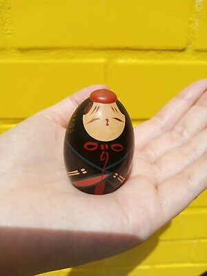 Miniature Doll Japanese Wooden Tiny Black Cute Fat Girl Painted Little Small Toy