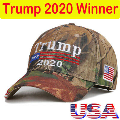 Donald Trump 2020 Camouflage Cap Hat Embroidered USA Flag Keep America Great Yb